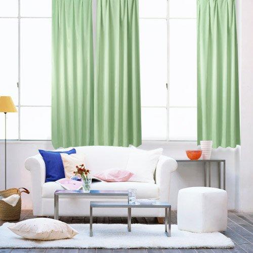 ウォッシャブル 厚地・断熱・遮光カーテンとレースカーテン4点セット100×178cm グリーン(B059-S6)