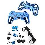 【ノーブランド品】金属メッキ フルハウジング シェルケース ボタンキット - 青  Sony PlayStation3 PS3に適用