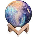 Night Light for Kids Moon Lamp 16 Colors LED 15cm 3D Print Star Moon Light with Stand, Touch & Remote Control & USB Rechargeable Baby Light Perfect Birthday Lover Friends (Star Moon Lamp)