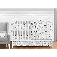 Grey Black and White Fox and Arrow Baby Boys or Girls 9 Piece Crib Bedding Crib Set with Bumper [並行輸入品]