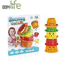HAOXIN お風呂おもちゃ 教育レインボースタッキングとネスティングカップ 赤ちゃん早期教育浴室スタッカー玩具A~Eレターとかわいい顔をプリント バスルームとビーチで使用できます