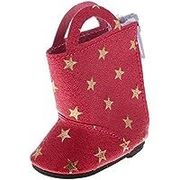 ノーブランド品 かわいい スタープリント ブーツ  靴 14インチ アメリカンガール/ウェリー/ウィッシャードール適用 4色選べる  - レッド