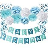 Furuix 男の子 誕生日 飾り付け ペーパーフラワー ペーパーポンポン セット HAPPY BIRTHDAY ガーランド バナー  ブルー ターコイズ ホワイト