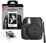 FUJIFILM instax mini インスタックス ミニ 8 インスタントカメラ チェキ 純正ハンドストラップ付き INSMINI8BLACKN ブラックの画像