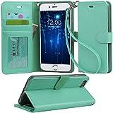「Arae」iphone 6 plus ケース 手帳型 iphone 6s plus ケースRoHS規格認定書取得 iphone 6plus ケース スタンド機能付き iphone 6splus ケース マグネット内蔵 アイホン 6s プラス ケース ストラップ付き アイホン 6 プラス ケース 財布型 アイホン6sプラスケース カードポケット付き アイホン6プラスケース 耐衝撃 (グリーン)