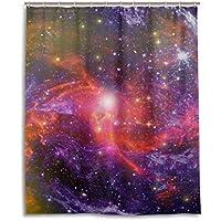 マキク(MAKIKU) シャワーカーテン 防カビ おしゃれ リング付属 宇宙柄 銀河 星柄 レッド バスカーテン 防炎 環境にやさしい 目隠し洗面所 間仕切り 取付簡単 150x180