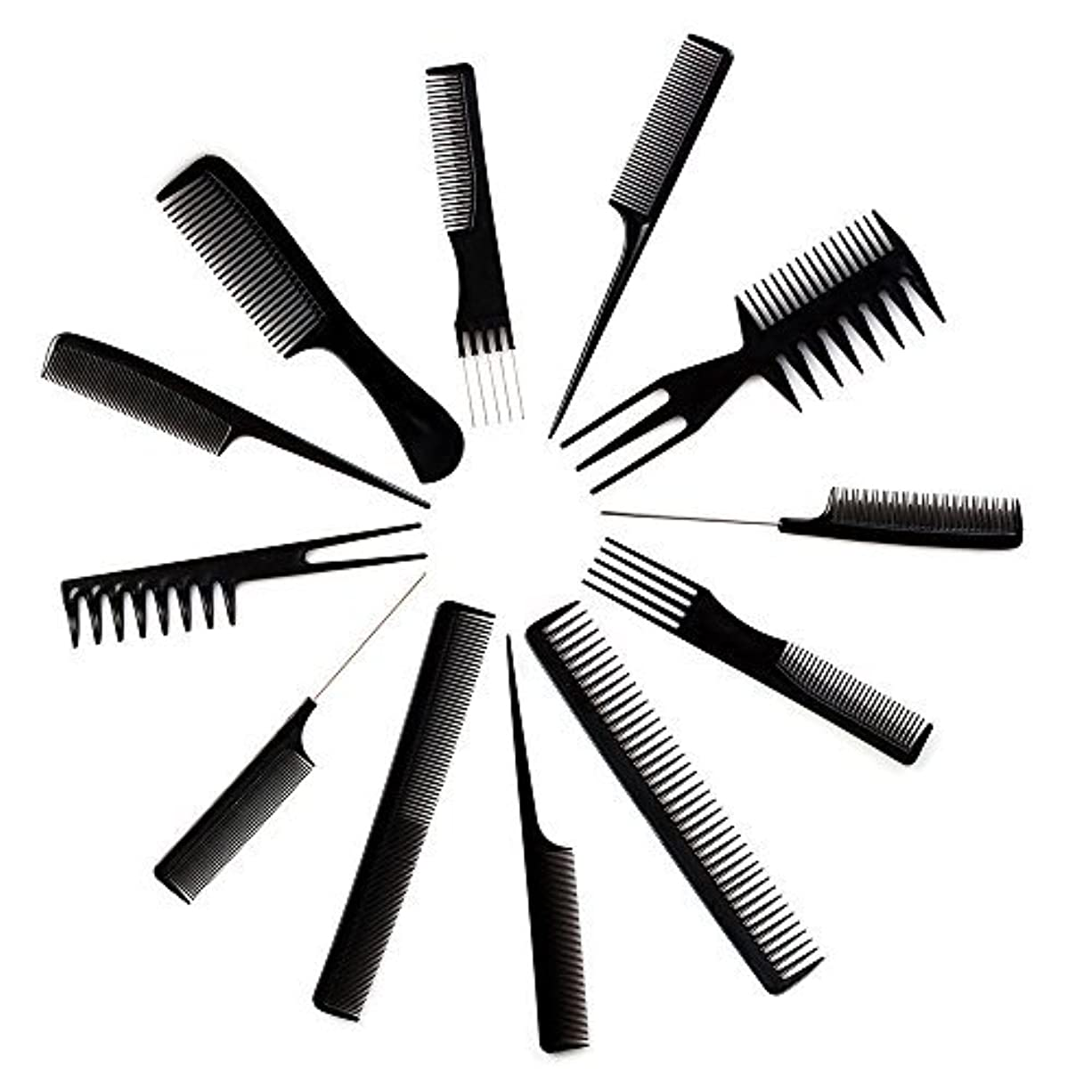 その後実質的にマチュピチュ10pcs Black Professional Combs Hairdressing Hair Salon Styling Barbers Set Kit [並行輸入品]