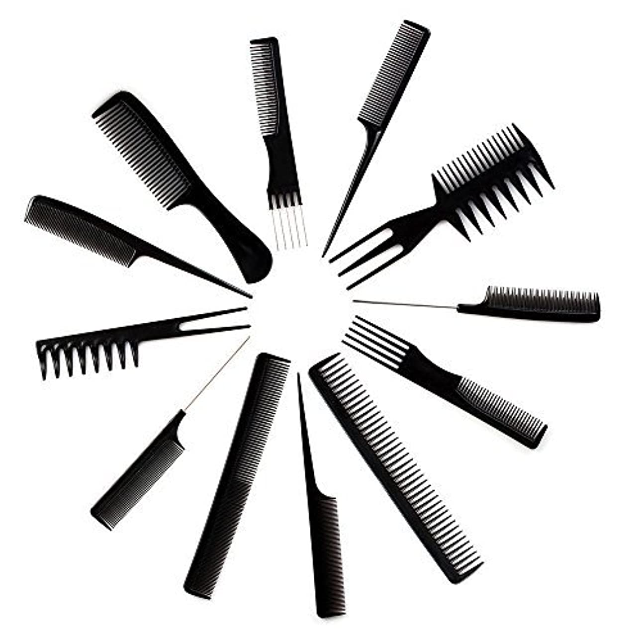 10pcs Black Professional Combs Hairdressing Hair Salon Styling Barbers Set Kit [並行輸入品]