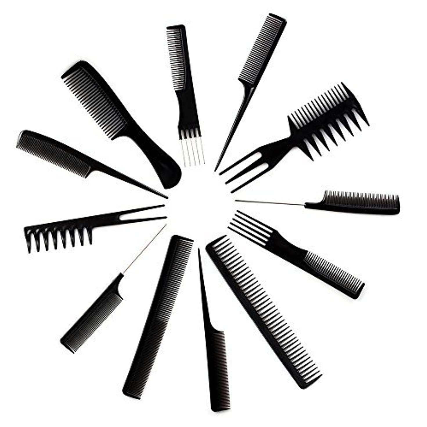 ドキドキ安全でない安西10pcs Black Professional Combs Hairdressing Hair Salon Styling Barbers Set Kit [並行輸入品]
