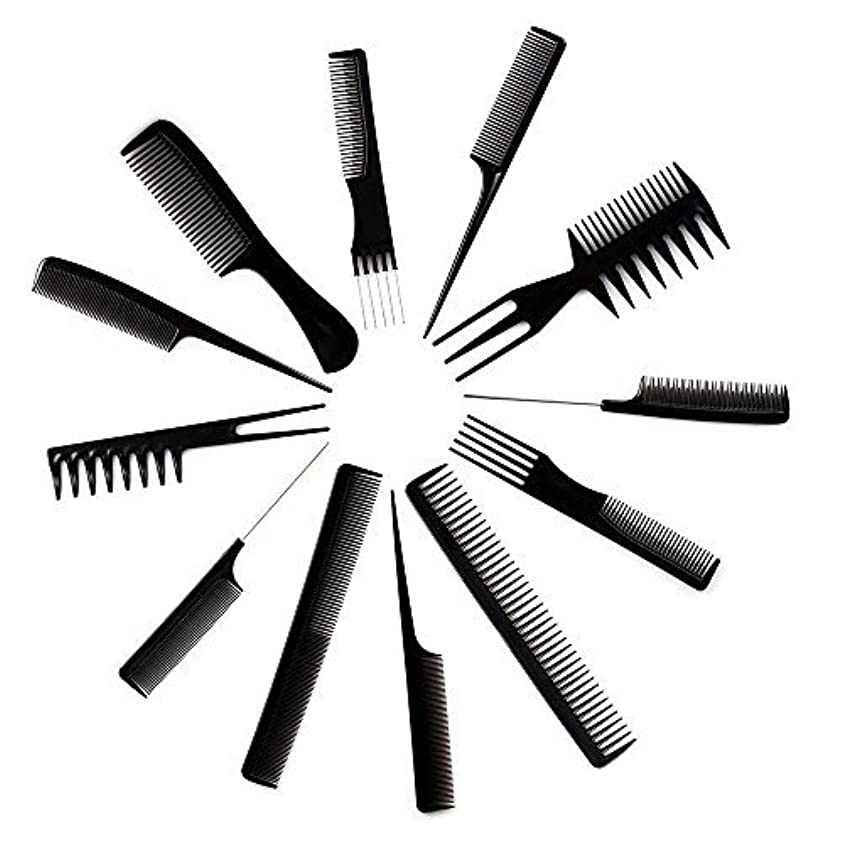 忙しい強化かみそり10pcs Black Professional Combs Hairdressing Hair Salon Styling Barbers Set Kit [並行輸入品]