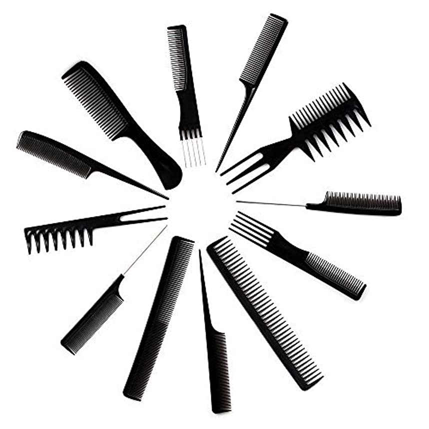 小説家真面目な解明する10pcs Black Professional Combs Hairdressing Hair Salon Styling Barbers Set Kit [並行輸入品]