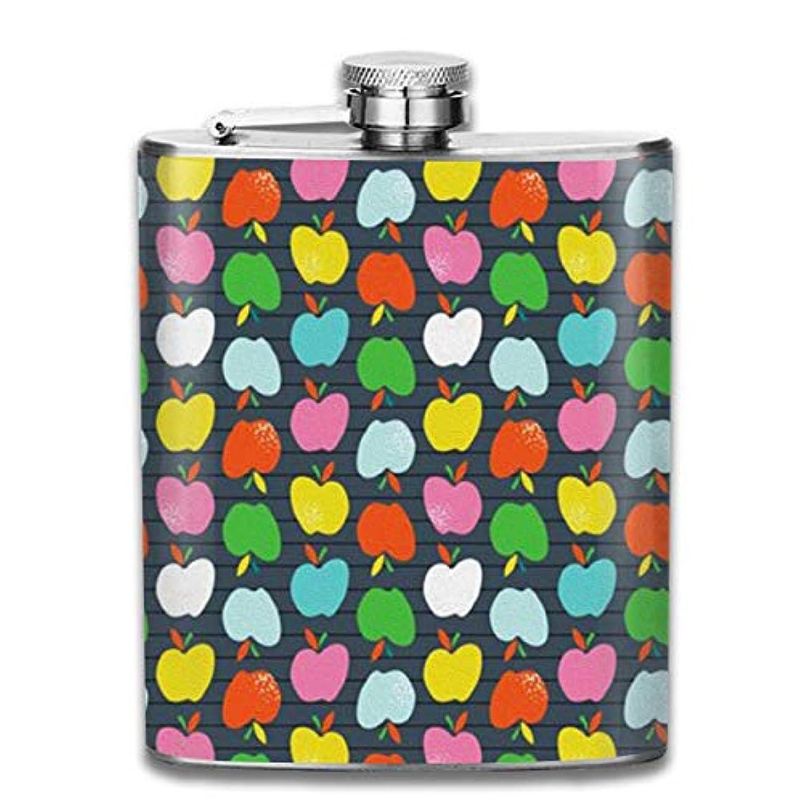地味な財布太陽リンゴ 水彩画 フラスコ スキットル ヒップフラスコ 7オンス 206ml 高品質ステンレス製 ウイスキー アルコール 清酒 携帯 ボトル