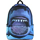 Hynes Eagle Backpack for Boys Cool 3D Shark Printed Kids School Backpack