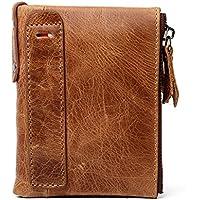 LDUNDUN-BAG, 2019 Multi-Function Men's Vertical Wallet Men's Wallet Anti-Theft Brush Anti-RFID Leather Men's Wallet (Color : Brass, Size : S)