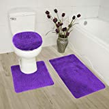 Smart Linen 3 Piece Bathroom Rug Set Bath Rug, Contour Mat, and Toilet Lid Cover Non-Slip with Rubber Backing Solid (Purple)
