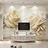 Bzbhart テレビの背景装飾画、壁用ステッカー3d壁紙現代クリエイティブホワイトローズ花壁装画壁絵画リビングルーム寝室の背景家の装飾壁布-450cmx300cm