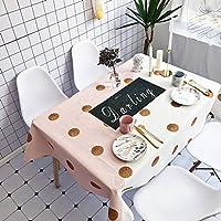 テーブルクロス、長方形防水ピンク白黒ドットシンプルダイニングテーブル/コーヒーテーブル/カフェに最適 (色 : 4, サイズ さいず : 140*180cm)