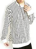 (モノマート) MONO-MART 裾 ZIP ストライプ カットソー ドルマン ストレッチ ゆる Tシャツ 長袖 デザイン メンズ ホワイト Mサイズ