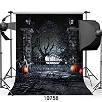 sjoloon 8x 8ftハロウィンBackdrop pumpkin bats背景シンビニール写真の背景幕Studio Props 10758