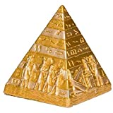 """Discoveries Egyptian Imports Miniature Pyramid Statue - Gold Finish - 3.25"""" - Hand Finished with Hieroglyphs - Made in Egypt"""