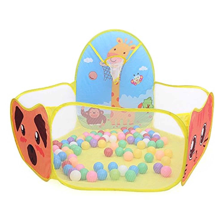 ポータブル海洋ボールピットプール子供用テント家ゲームプレイHutおもちゃ子供ギフトインドアアウトドアイエロー