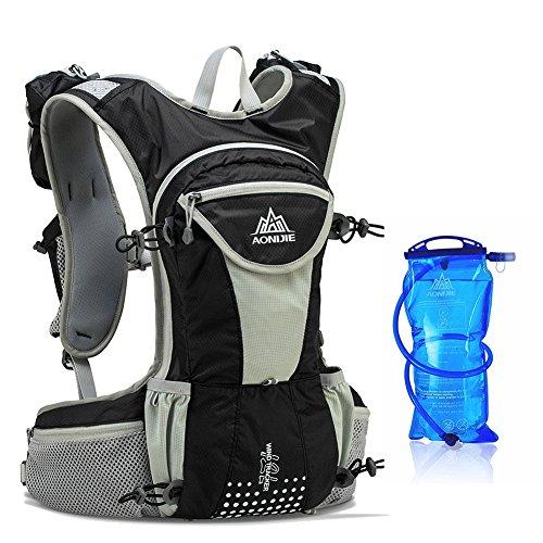 AONIJIE ハイドレーションバッグ ランニングバッグ サイクリングバッグ ウォーキング用バッグ 超軽量 自転車バックパック リュック 12L (ブラック)