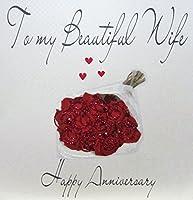 ホワイトコットンカードコードxlwb47to My美しい妻Happy AnniversaryハンドメイドLarge記念日カードバラ、レッド