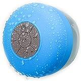 Ewin® 吸盤式bluetoothスピーカー ワイヤレススピーカー マイク搭載防水仕様 室内、室外兼用、お風呂用【1年間安心保証】 (IPX4防水スピーカー, ブルー)