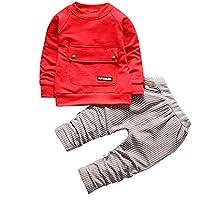 幼児の男の子の女の子の服トレーナートップ+ストライプパンツ服セット (3T, Red)