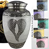 Loving Angel Wings - Niche, Burial, Columbarium or Funeral Adult Cremation Urn for Human Ashes, Brass, White, Large