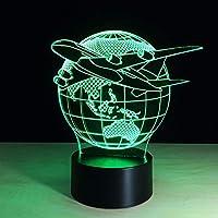 Dtcrzj Hi クール玩具3D航空機戦闘機ランプモデルクリエイティブナイトライトタッチジェット飛行機のデスクランプLedホログラムイリュージョンランプベッドサイドランプ