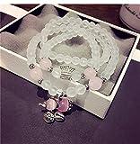 Gebosi レディース6MM ローズクォーツ 两色チャクラ 浄化守護 恋愛成就パワーストーン 祈り数珠 70cm 天然石 3 連数珠108珠 ブレスレット