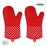 Overmont オーブンミトン シリコン手袋 300℃ 耐熱ミトン 断熱ミトン 手袋 オーブン 電子レンジ 調理用手袋 キッチン手袋 業務用 バーベキュー BBQ 2個セット ブラック