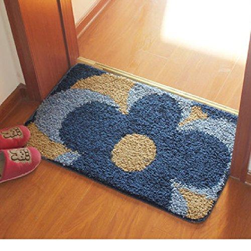 玄関 マット 屋内 室内 滑り止め付 花柄 (50×80 青)
