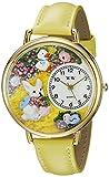 復活祭 うさぎ 黄色レザー ゴールドフレーム 時計 #G1220015