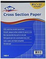 アルビン1422–4クロスセクション用紙8x 8グリッド50-sheetパッド8–1/ 2インチx 11インチ