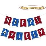 LINGPAR 7月4日のハッピーバナー 独立記念日 米国愛国心サインデコレーション用品 レッドとブルー