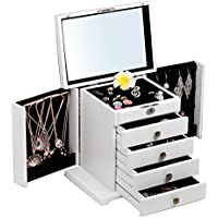 B-AIMS Extra Large Wooden White Brown Jewellery Storage Boxes Ring Earring Case Lockable Velvet Cabinet Jewelry Organizer Cufflink Box Key Birthday Xmas Gift For Women Girls Bracelet Beads Display Jewel Box 11 (White)