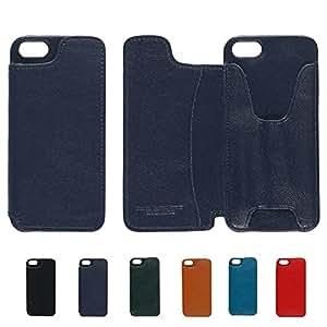 【本革】 iPhoneSE/5/5s用 iPhoneウォレット (ブラックネイビー) Business Leather Factory