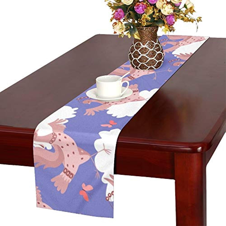LKCDNG テーブルランナー すばしこい 鹤 クロス 食卓カバー 麻綿製 欧米 おしゃれ 16 Inch X 72 Inch (40cm X 182cm) キッチン ダイニング ホーム デコレーション モダン リビング 洗える