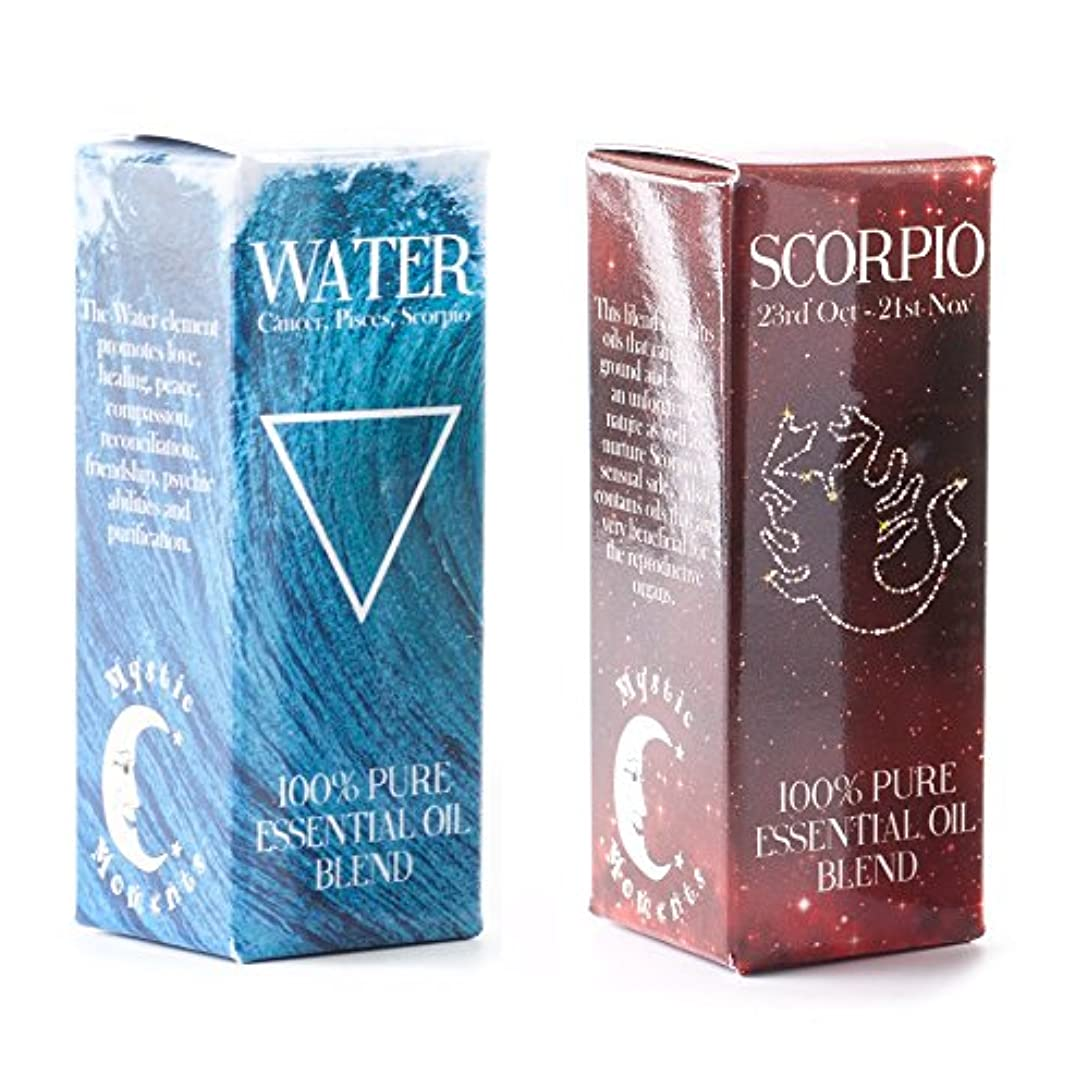 富豪押すケープMystic Moments | Water Element & Scorpio Zodiac Sign Astrology Essential Oil Blend Twin Pack (2x10ml)