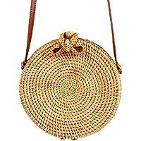 Rattan Bag, Aolvo Handwoven Round Rattan Bag Weave Woven Crossbody Shoulder Bag Linen Inside and Leather Strap for Women Girls Best Gift