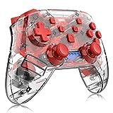 スイッチ用ワイヤレススイッチコントローラー、スイッチ用プロフェッショナルBluetooth Proコントローラー、調整可能なターボ振動モーションジャイロ人間工学、透明(最新バージョン),赤