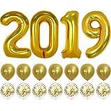 2019 バルーン ゴールド紙吹雪バルーン - 卒業パーティー用品 2019   卒業式デコレーション ゴールド   大きな2019バルーン 7つのゴールド紙吹雪バルーンと7つのゴールドラテックスバルーン   卒業式バルーン