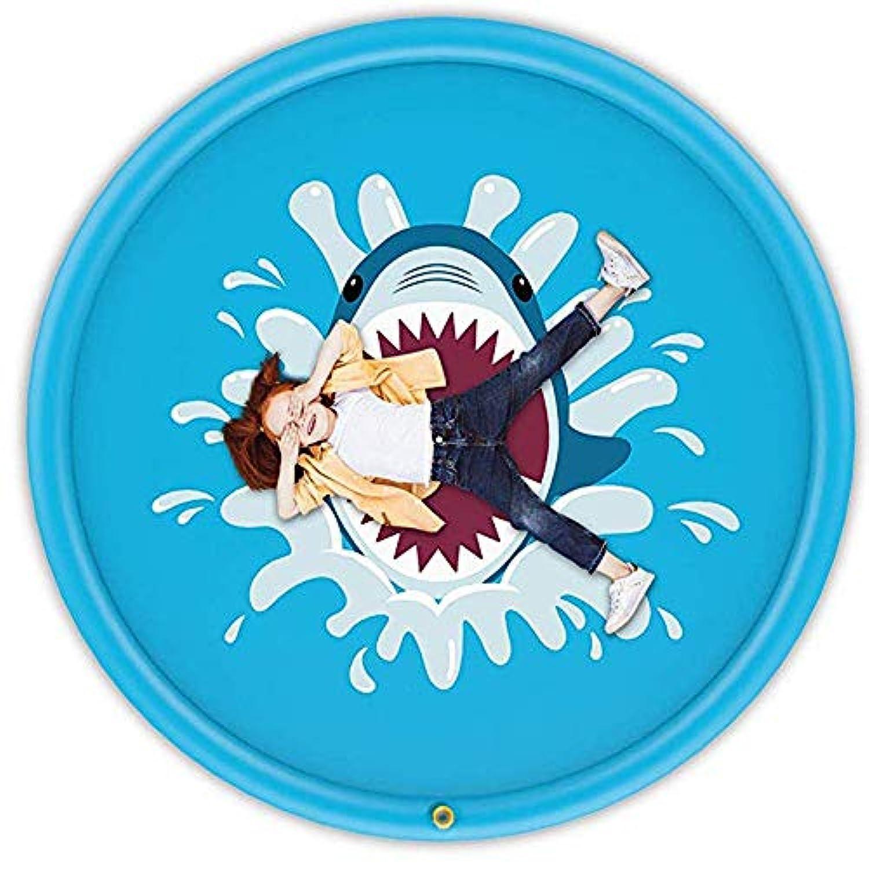 スプリンクル&スプラッシュプレイマット アウトドアスプリンクラーパッド サメプリント振りかけるとスプラッシュマット水遊び玩具2-3キッズ幼児屋外スプレー水パッドインフレータブル夏のおもちゃ170センチ (色 : 青, サイズ : 66.93inch)