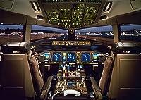 絵画風 壁紙ポスター (はがせるシール式) ボーイング777 300型 コックピット 操縦室 パイロット ジェット旅客機 キャラクロ APCP-003A1 (A1版 830mm×594mm) 建築用壁紙+耐候性塗料