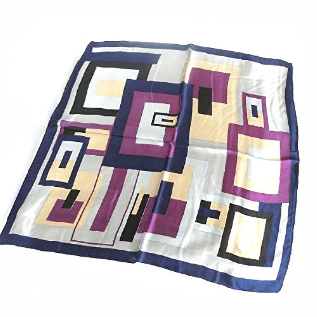 ほとんどない知人誇りシルク100%スカーフ 幾何学デザイン 男女兼用 ポケットチーフ 約50cm正方形 ダーク系カラー