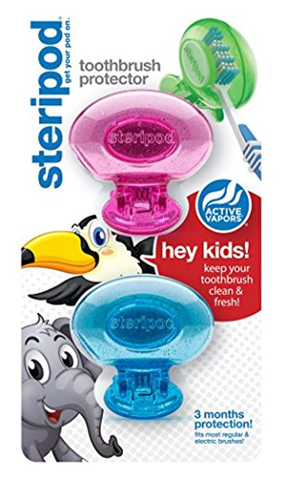 チップ眉をひそめるコンテンポラリーステリポッド (Steripod) キッズ歯ブラシ プロテクター(2パック ピンク&ブルーグリッターポッド)歯ブラシケース