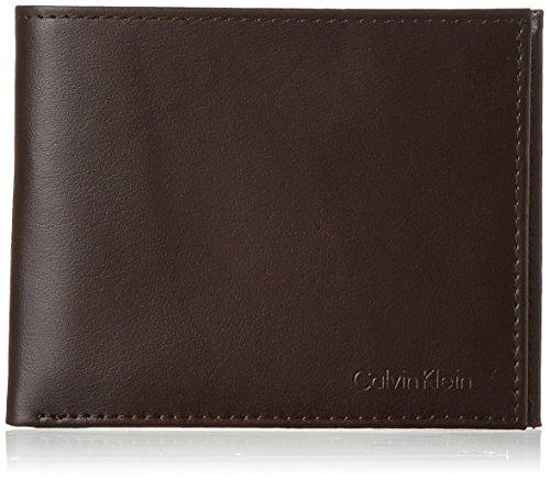 Calvin Klein Men's RFID Blocking Leather Bifold Wallet, Brown, One Size