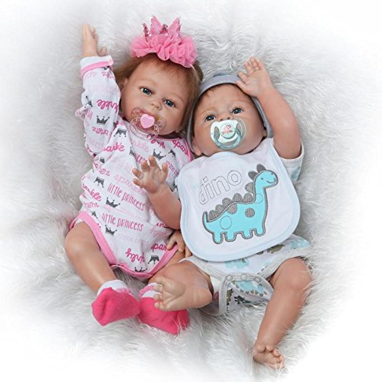 ピンキーのペア50 cm 20インチビニールシリコンフルボディ人形幼児新生児Lifelike Rebornベビー人形Twinsおもちゃ磁気口ダミー